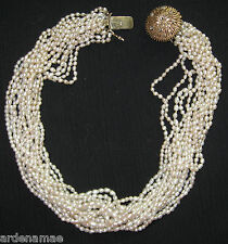 "Vintage Pearl Handmade Choker Necklace 14"" with Gold and Diamond Chips on Clasp"
