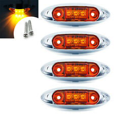 4x 12v Amber 3LED Front Side Marker Light Indicator Lamp Bezel For Van/Trailer