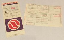 Vtg Northwest Orient Airline Passenger 2 Tickets Holder Sleeve Braniff 1980