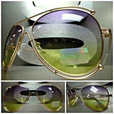 CLASSIC VINTAGE RETRO Style SUN GLASSES SHADES Gold Frame Purple & Yellow Lens