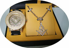 Gold Finish Mason Iced Out Techno Pave Watch/Chain Charm Combo+ Box