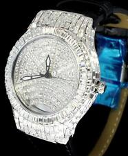 43mm Swiss Movt Silver Tone Simulated Diamond Leather Luxury Mens Wrist Watch