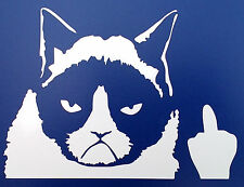 Grumpy cat middle finger stickers car van bumper window decal 5099 white