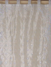 Silver Curtain Panel - Zardozi Embroidered Beaded India Window Treatments 92""