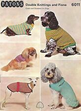 Vintage 1960's Knitting Pattern Dog Coats & Sweaters PDF