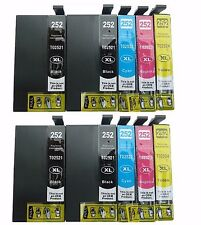 10-Pk/Pack T252XL Ink Cartridge for Epson WF-3620 WF-3640 WF-7110 WF-7610 WF7620