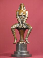 SIGNED BRONZE STATUE NUDE EROTIC HIGHLY DETAILED SCULPTURE ON MARBLE BASE