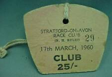Strartford On Avon Race Club Day Pass Badge March 17th 1960 W Buttonhole Lanyard