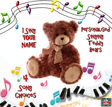 Personalised Singing Teddy Bear DARK BROWN - I sing YOUR CHILD'S NAME! $49.95