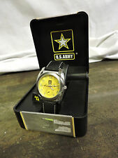 NEW OFFICIALLY LICENSED US ARMY WATCH WR 330FT LEATHER BAND & CASE b