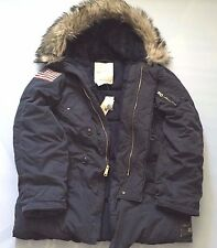 DENIM & SUPPLY RALPH LAUREN NAVY BLUE DOWN SNORKEL PARKA JACKET w FUR HOODIE XL