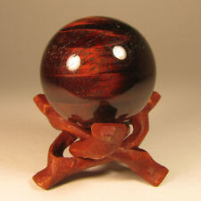 40mm RED TIGER EYE Chatoyant Gemstone Sphere Ball w/ Stand - South Africa