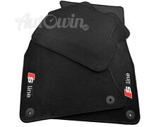 AUDI A3 2008-2013 Black Floor Mats RHD With Sline Logo With Clips UK Model