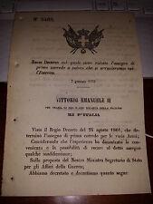 REGIO DECRETO 1870 RIDOTTO ASSEGNO DI PRIMO CORREDO ARRUOLATI ESERCITO