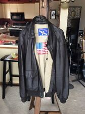 Vintage Airborne Leather Bomber Jacket, Mens LT, Brown with ROC Flag on Back
