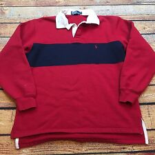 90s VTG POLO RALPH LAUREN WIDE STRIPED COLORBLOCK M Shirt Sweatshirt Blue Sport