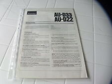 Sansui AU-D33 / AU-D22 Owner's Manual  Operating Instructions Istruzioni New