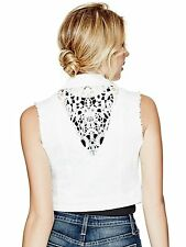Guess Womens Vest Jacket Denim Elia Crochet Cropped Denim Vest S White NWT