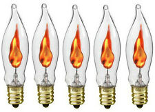 Box of 5 Flicker Flame Light Bulbs, E12 Candelabra Base, 3 watt (#A101)