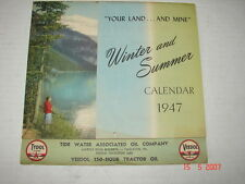 1947 Calendar TIDE WATER Associated Oil Co., Hazleton, Pa - TYDOL VEEDOL