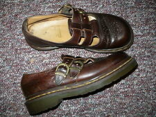 Womens Brown Leather Mary Jane shoes DR MARTENS Sz 7, Comfy, made in England