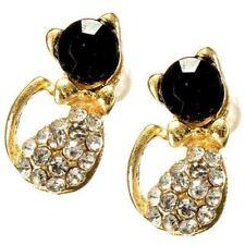 Lovely Full Rhinestone Alloy Black Gold Cat Stud Earrings