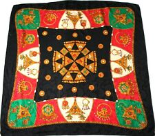Vintage silk scarf - Blacw / Green / Red  - Gold Trinkets  - Large