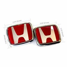 Red Honda Acura Emblem Set CIVIC ACCORD INTEGRA 91 92 93 94 95 96 97 98 99 00