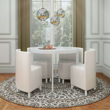 WHITE HI GLOSS ROUND SPACESAVER STOWAWAY DINING SET WITH 4 PU LEATHER CHAIRS
