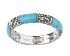 Suspicion Infinity Series Sterling Silver Marcasite Turquoise Band Ring Sz 9 QVC