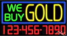 """NEW """"WE BUY GOLD"""" W/YOUR PHONE NUMBER 37x20 NEON SIGN W/CUSTOM OPTIONS 15121"""