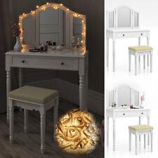 Coiffeuse + tabouret table de maquillage stockage miroir chambre vanité Chambord