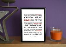 Framed - John Legend - All Of Me - Poster Art Print - 5x7 Inches