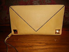 Linea Pelle Grayson O/S Clutch Leather Stud Trim NWT MSRP 208.00 REDUCED !