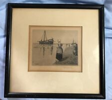 George Wainwright Harvey Signed Etching Departing Fishboat  Holland 1925