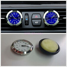 Car Interior A/C Vent Clip Clock&Thermometer Perfume Storage W/Blue LED Backlamp