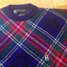New Vtg CONTE OF FLORENCE Navy Tartan Alpaca/Wool Sweater Jumper Ski Retro ITALY