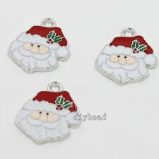 15x Newest White Blue Red Enamel Christmas Santa Claus Alloy Charms Pendants D