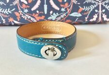 "Coach 5/8"" Blue Leather Cuff Bracelet +White Stitching +Silver Turnlock Clasp"