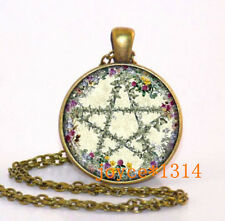 Vintage Pentagram Wiccan Cabochon Bronze Glass Chain Pendant Necklace #521