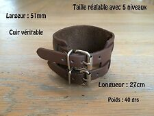 Bracelet De Force Vrai Cuir Double Rivet Marron Leather Brown Johnny Depp Style