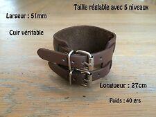 Bracelet De Force Vrai Cuir Double Rivet Marron Leather Brown Johnny Depp Style
