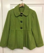 Newlook Ladies Lime Green lined business casual wool coat Jacket UK 14 vgc