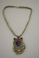 Necklace Middle Eastern Silver Kuchi Chain Red Blue Belly Dancing Pendant