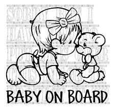 Cute baby girl with Teddy Bear on board princess decal vinyl sticker sign colour