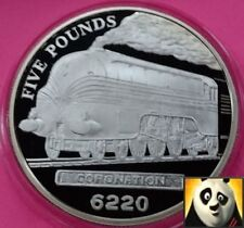 2004 JERSEY £5 Five Pound Locomotive Steam Age Coronation Silver Proof Coin