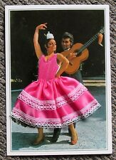 Retro Kitsch Vintage 60s Style - Spanish Material Embroidered Postcard Flamenco