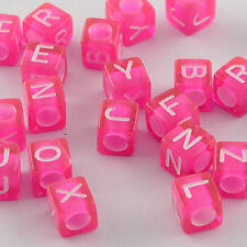 200pcs Mixed Cube Letter Alphabet Transparent Acrylic Beads HotPink Space Bead