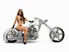 "Sexy Brunette on a Motorcycle Pin Up Girl 6"" Decal FREE SHIPPING"