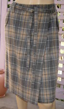 TALBOTS Light Gray/Tan Plaid Belted Wool Blend Skirt w/ Front Wrap Panel (10)